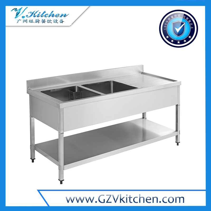 Double Bowl Sink Table with Under Shelf