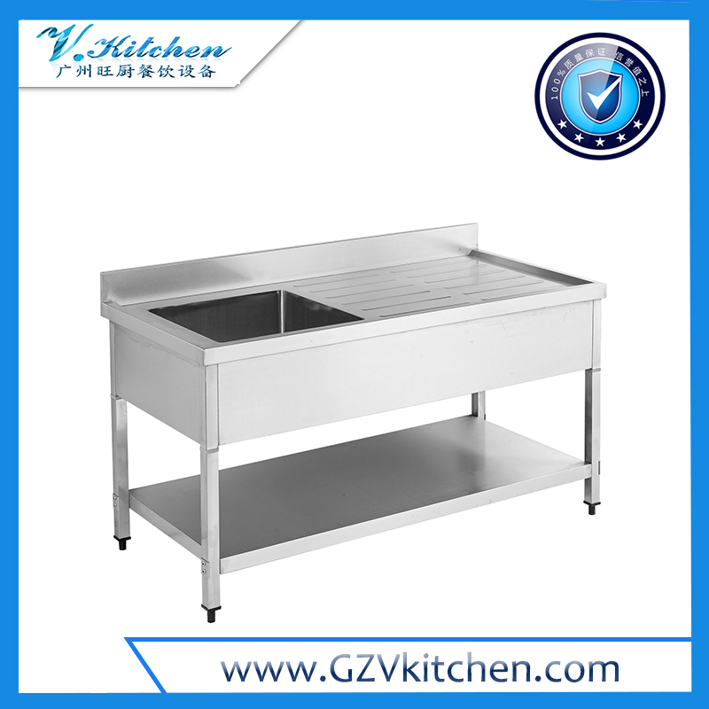 Single Bowl Sink Table with Under Shelf